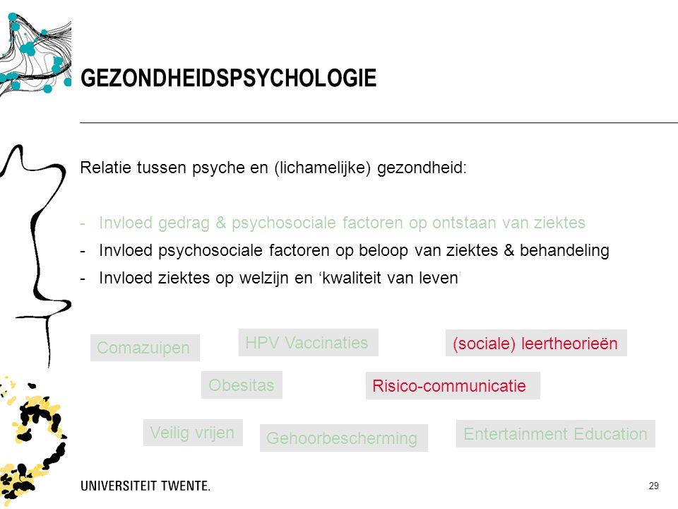 29 Relatie tussen psyche en (lichamelijke) gezondheid: -Invloed gedrag & psychosociale factoren op ontstaan van ziektes -Invloed psychosociale factore