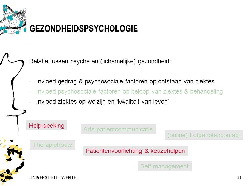 31 Relatie tussen psyche en (lichamelijke) gezondheid: -Invloed gedrag & psychosociale factoren op ontstaan van ziektes -Invloed psychosociale factore