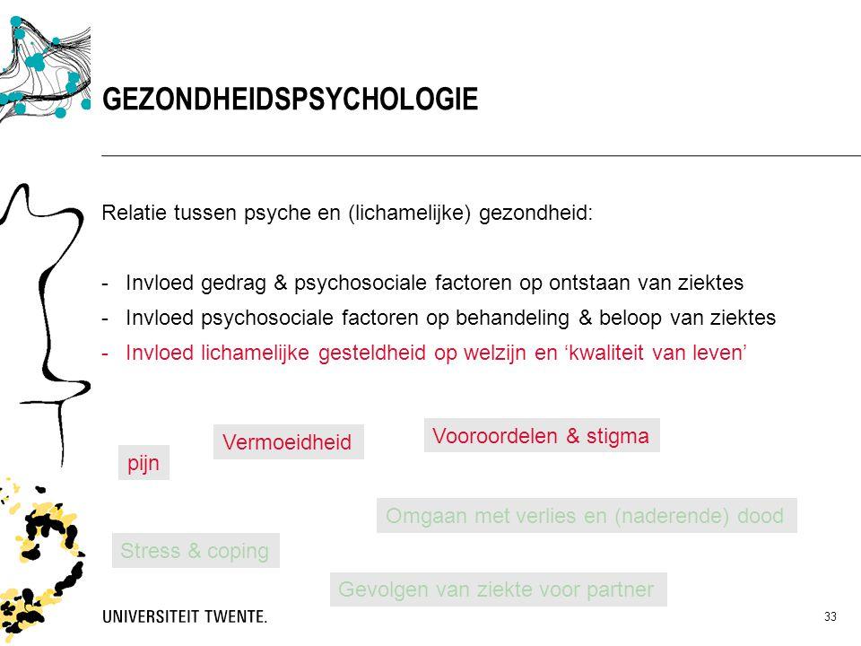 33 Relatie tussen psyche en (lichamelijke) gezondheid: -Invloed gedrag & psychosociale factoren op ontstaan van ziektes -Invloed psychosociale factore