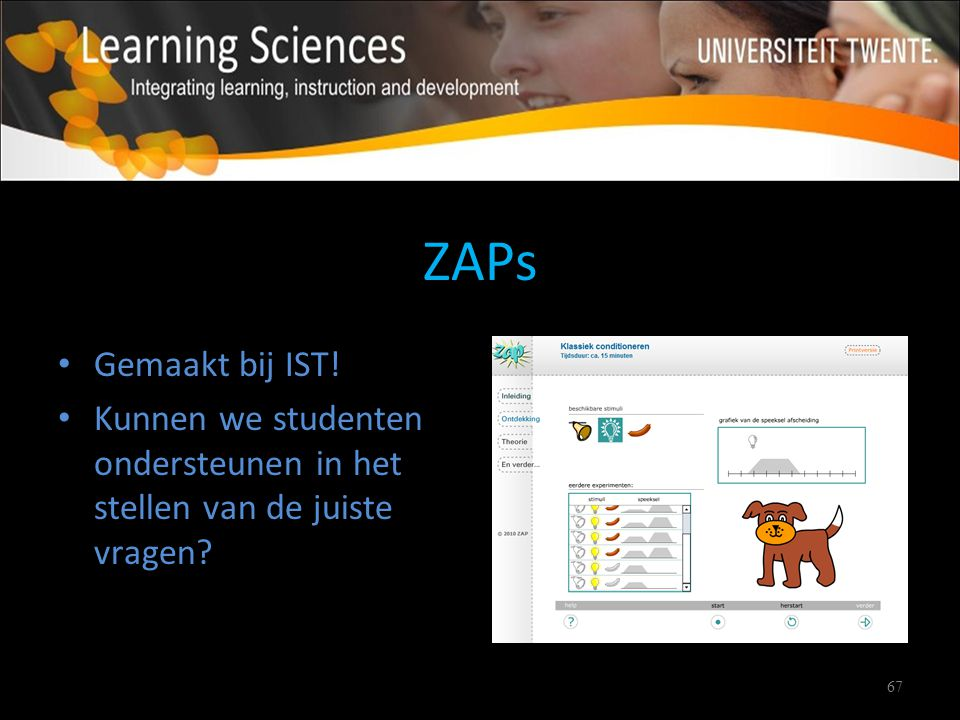 67 ZAPs Gemaakt bij IST! Kunnen we studenten ondersteunen in het stellen van de juiste vragen?