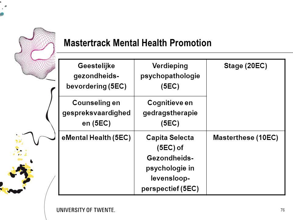 76 Mastertrack Mental Health Promotion Geestelijke gezondheids- bevordering (5EC) Verdieping psychopathologie (5EC) Stage (20EC) Counseling en gesprek