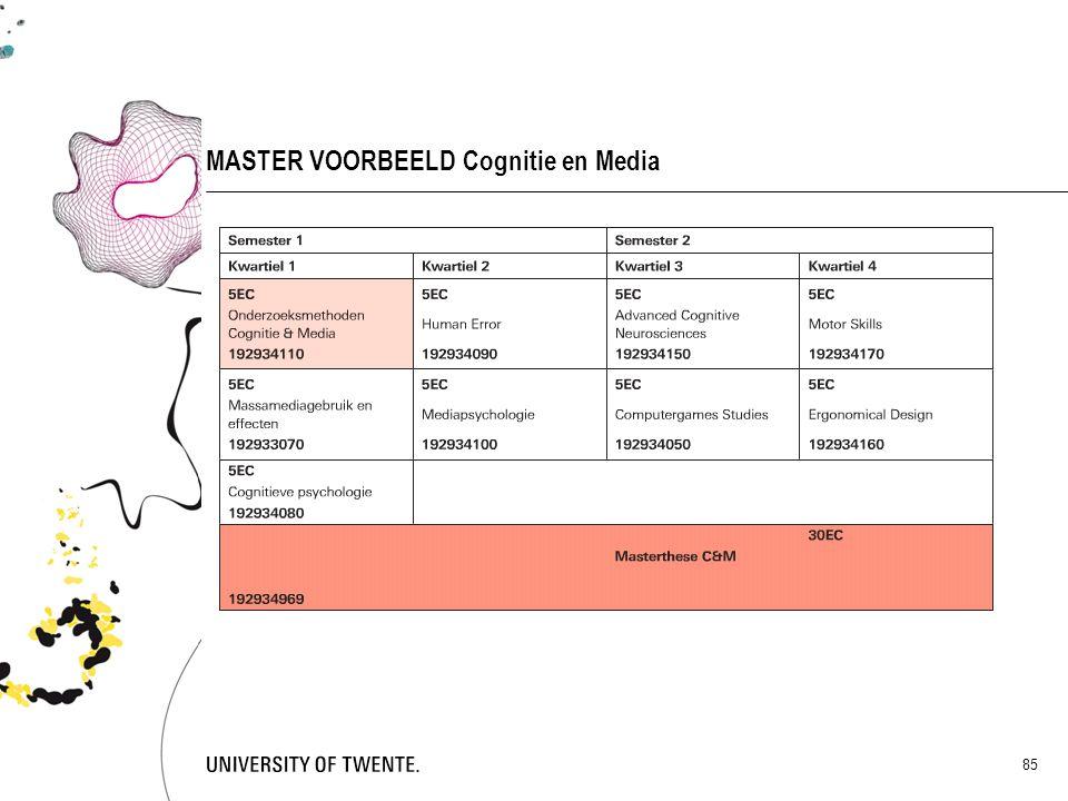 85 MASTER VOORBEELD Cognitie en Media