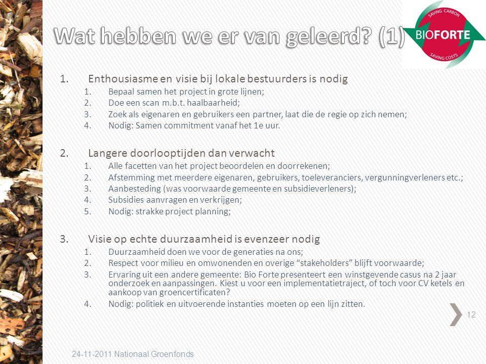 12 24-11-2011 Nationaal Groenfonds 1.Enthousiasme en visie bij lokale bestuurders is nodig 1.Bepaal samen het project in grote lijnen; 2.Doe een scan m.b.t.
