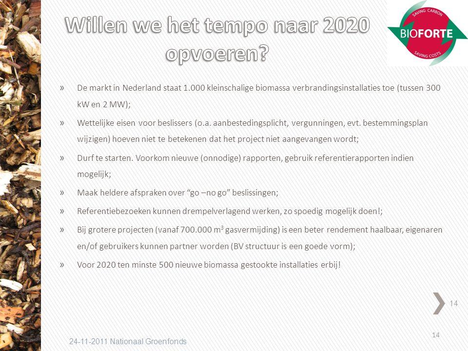 14 24-11-2011 Nationaal Groenfonds » De markt in Nederland staat 1.000 kleinschalige biomassa verbrandingsinstallaties toe (tussen 300 kW en 2 MW); » Wettelijke eisen voor beslissers (o.a.