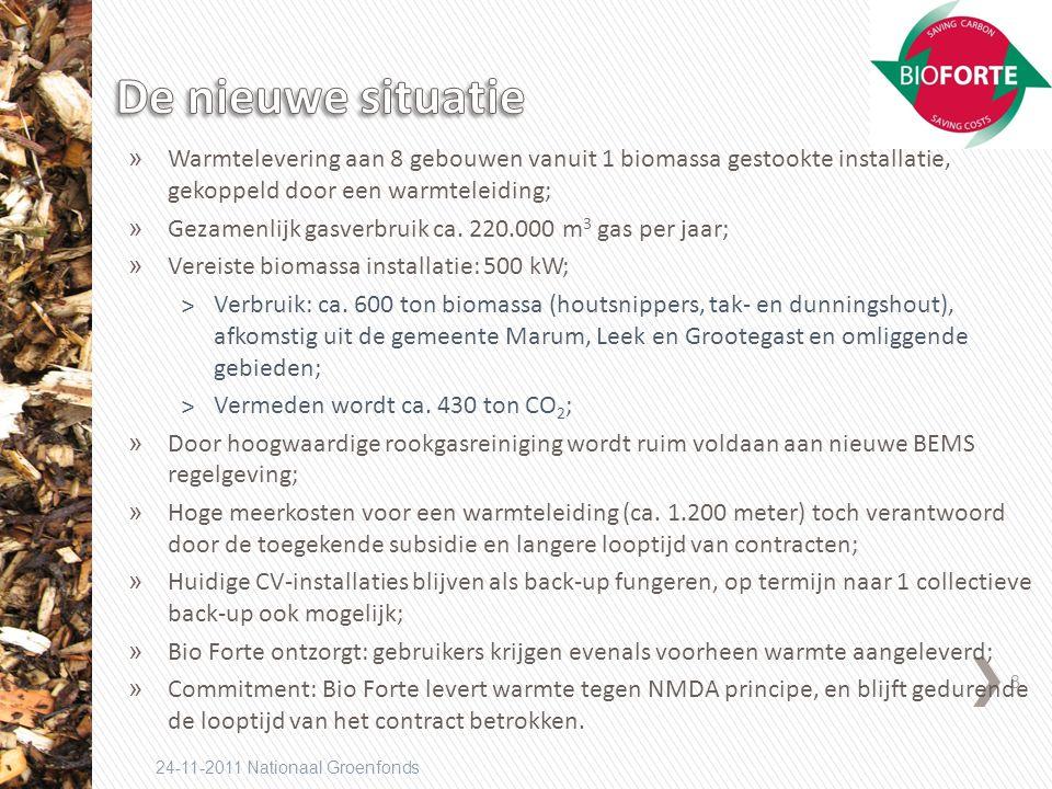 8 24-11-2011 Nationaal Groenfonds » Warmtelevering aan 8 gebouwen vanuit 1 biomassa gestookte installatie, gekoppeld door een warmteleiding; » Gezamenlijk gasverbruik ca.