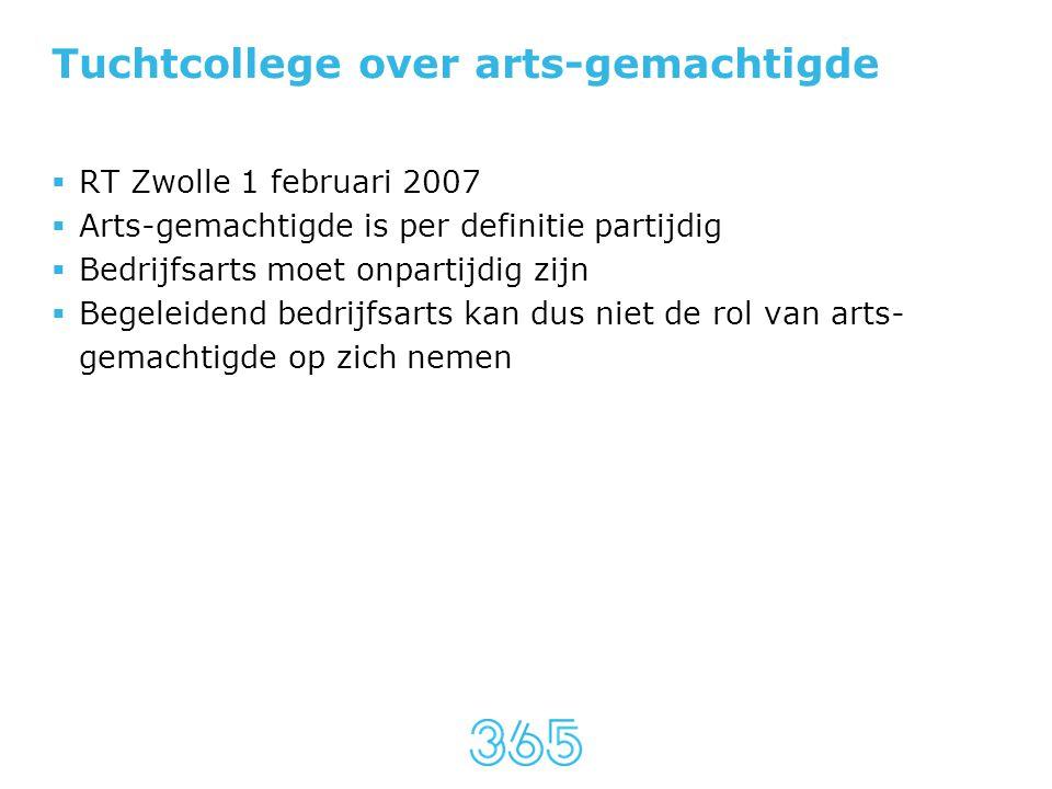 Tuchtcollege over arts-gemachtigde  RT Zwolle 1 februari 2007  Arts-gemachtigde is per definitie partijdig  Bedrijfsarts moet onpartijdig zijn  Be