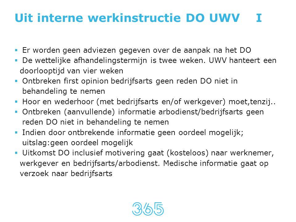 Uit interne werkinstructie DO UWV I  Er worden geen adviezen gegeven over de aanpak na het DO  De wettelijke afhandelingstermijn is twee weken. UWV