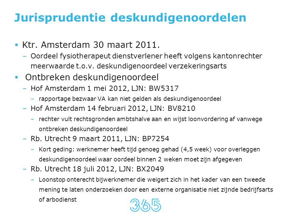 Jurisprudentie deskundigenoordelen  Ktr. Amsterdam 30 maart 2011. –Oordeel fysiotherapeut dienstverlener heeft volgens kantonrechter meerwaarde t.o.v