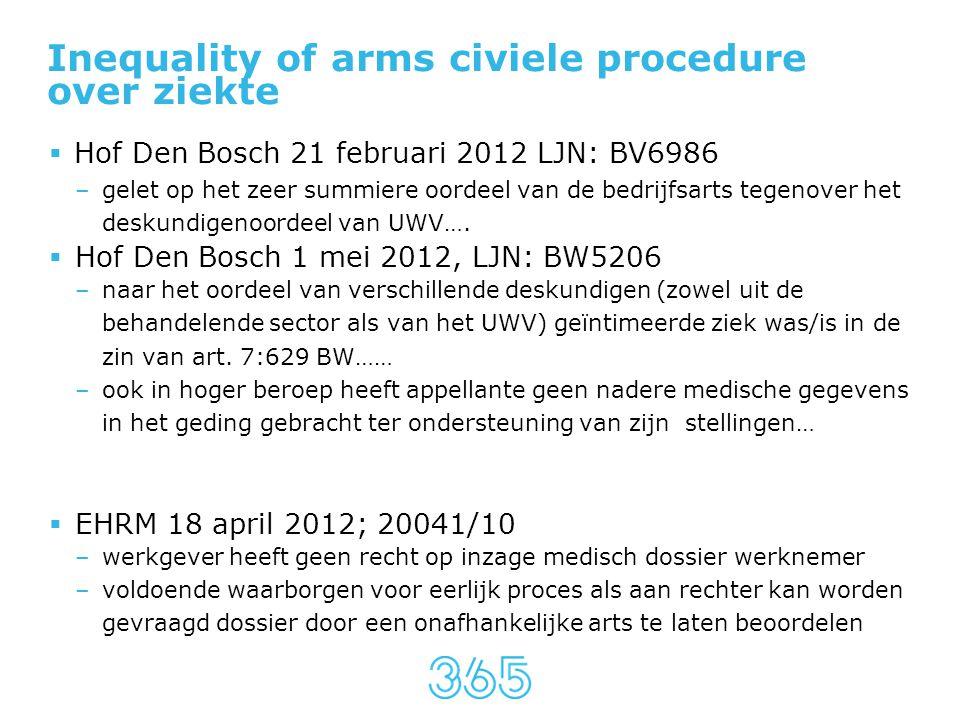 Inequality of arms civiele procedure over ziekte  Hof Den Bosch 21 februari 2012 LJN: BV6986 –gelet op het zeer summiere oordeel van de bedrijfsarts