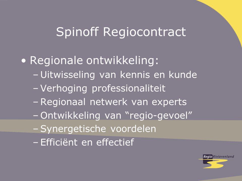 Spinoff Regiocontract Regionale ontwikkeling: –Uitwisseling van kennis en kunde –Verhoging professionaliteit –Regionaal netwerk van experts –Ontwikkeling van regio-gevoel –Synergetische voordelen –Efficiënt en effectief