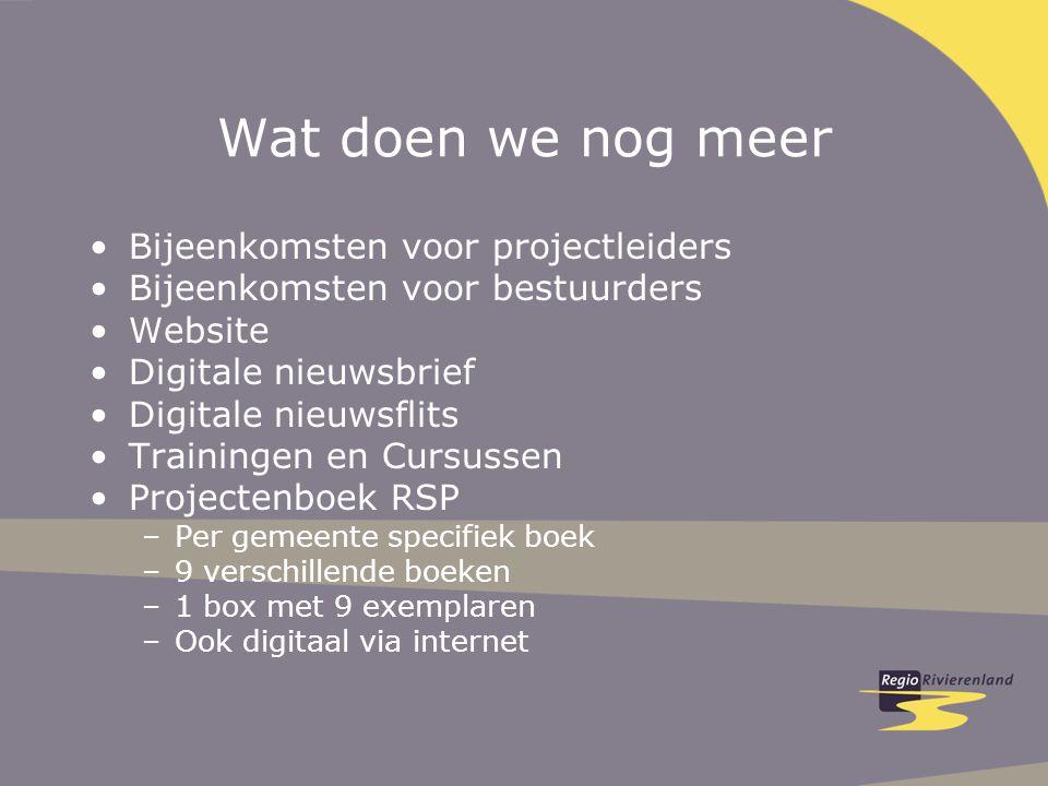 Wat doen we nog meer Bijeenkomsten voor projectleiders Bijeenkomsten voor bestuurders Website Digitale nieuwsbrief Digitale nieuwsflits Trainingen en