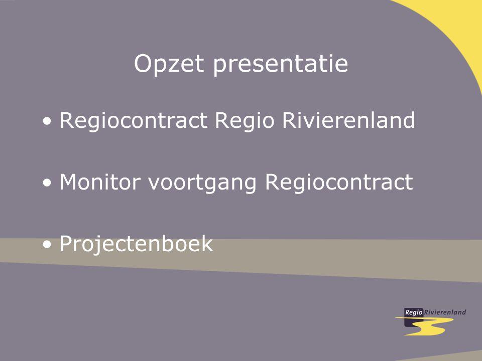 Opzet presentatie Regiocontract Regio Rivierenland Monitor voortgang Regiocontract Projectenboek