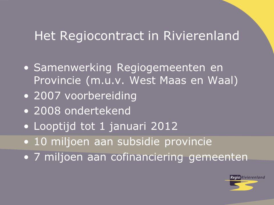 Het Regiocontract in Rivierenland Samenwerking Regiogemeenten en Provincie (m.u.v. West Maas en Waal) 2007 voorbereiding 2008 ondertekend Looptijd tot