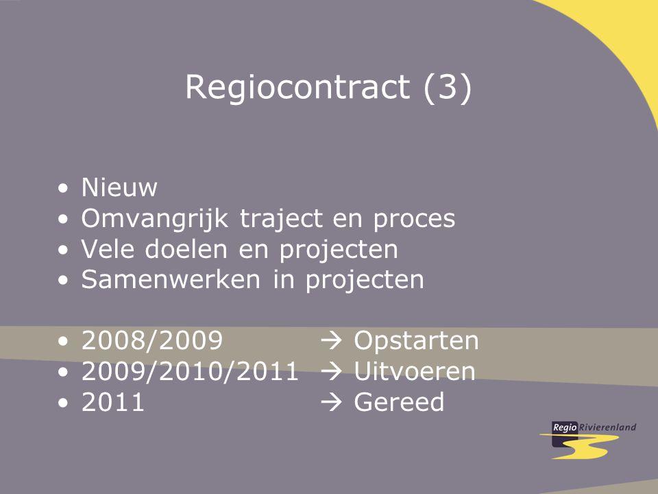 Regiocontract (3) Nieuw Omvangrijk traject en proces Vele doelen en projecten Samenwerken in projecten 2008/2009  Opstarten 2009/2010/2011  Uitvoeren 2011  Gereed