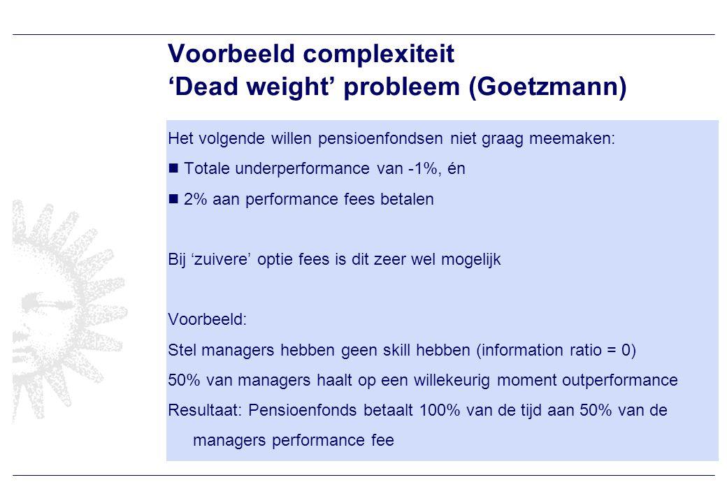 Voorbeeld complexiteit 'Dead weight' probleem (Goetzmann) Het volgende willen pensioenfondsen niet graag meemaken: Totale underperformance van -1%, én 2% aan performance fees betalen Bij 'zuivere' optie fees is dit zeer wel mogelijk Voorbeeld: Stel managers hebben geen skill hebben (information ratio = 0) 50% van managers haalt op een willekeurig moment outperformance Resultaat: Pensioenfonds betaalt 100% van de tijd aan 50% van de managers performance fee