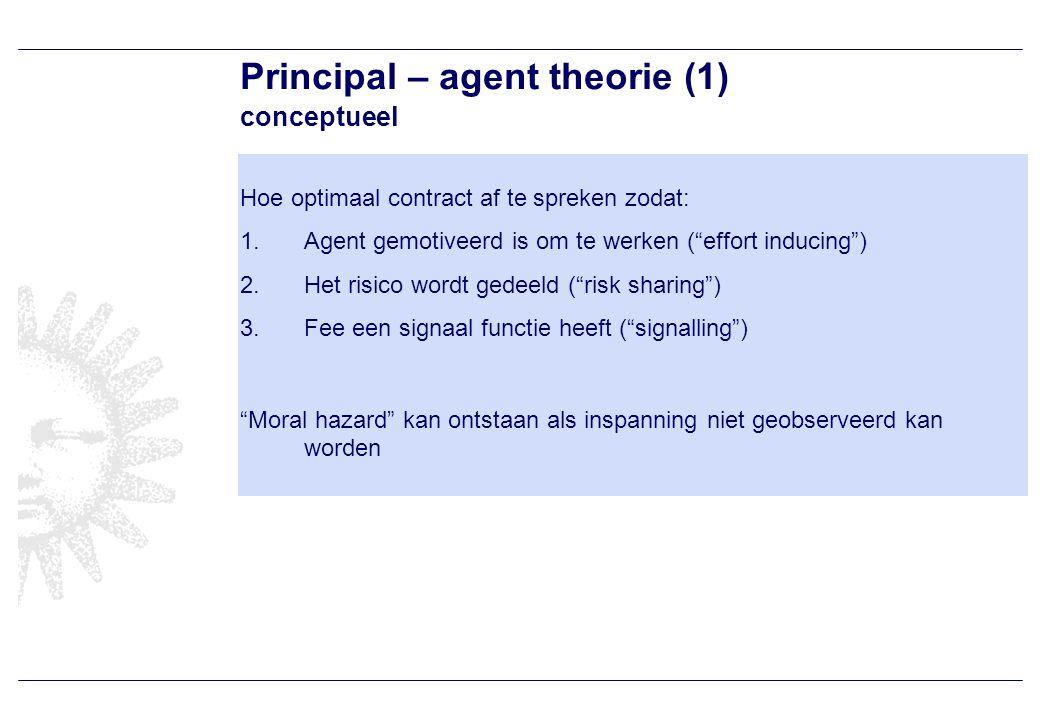 Principal – agent theorie (1) conceptueel Hoe optimaal contract af te spreken zodat: 1.Agent gemotiveerd is om te werken ( effort inducing ) 2.Het risico wordt gedeeld ( risk sharing ) 3.Fee een signaal functie heeft ( signalling ) Moral hazard kan ontstaan als inspanning niet geobserveerd kan worden