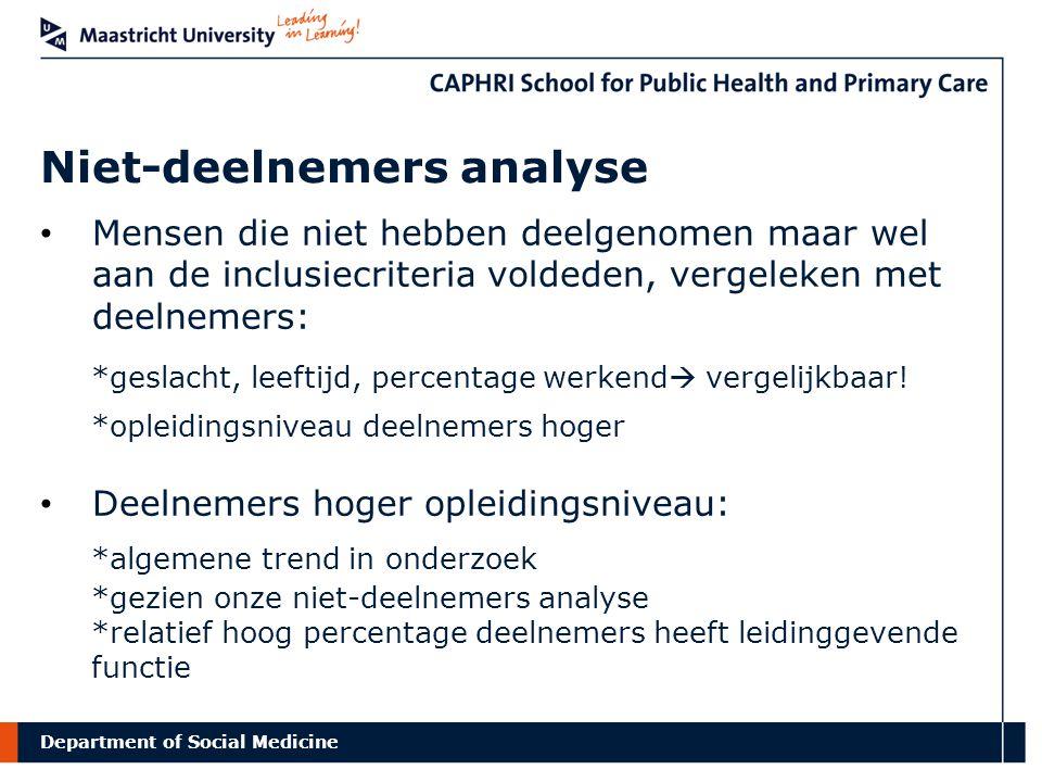 Department of Social Medicine Niet-deelnemers analyse Mensen die niet hebben deelgenomen maar wel aan de inclusiecriteria voldeden, vergeleken met dee