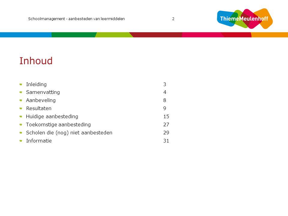 Inhoud Inleiding3 Samenvatting4 Aanbeveling8 Resultaten9 Huidige aanbesteding15 Toekomstige aanbesteding27 Scholen die (nog) niet aanbesteden29 Inform