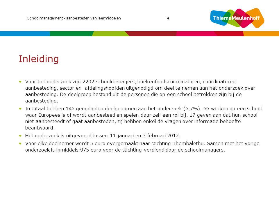 Voor 2013/2014 zijn scholen nu aan het voorbereiden Let op dat sommige cijfers gebaseerd zijn op lage aantallen De scholen die zich nu aan het voorbereiden zijn op de aanbesteding willen vanaf 2013/2014 het contract in laten gaan.