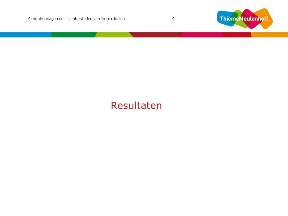 Resultaten Schoolmanagement - aanbesteden van leermiddelen9