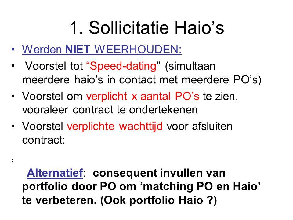 """1. Sollicitatie Haio's Werden NIET WEERHOUDEN: Voorstel tot """"Speed-dating"""" (simultaan meerdere haio's in contact met meerdere PO's) Voorstel om verpli"""