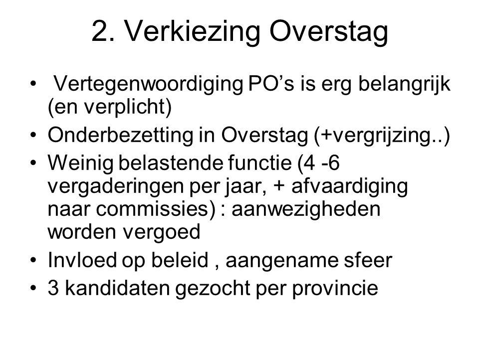 2. Verkiezing Overstag Vertegenwoordiging PO's is erg belangrijk (en verplicht) Onderbezetting in Overstag (+vergrijzing..) Weinig belastende functie
