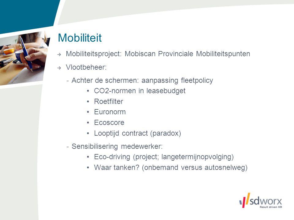 Mobiliteit Mobiliteitsproject: Mobiscan Provinciale Mobiliteitspunten Vlootbeheer: -Achter de schermen: aanpassing fleetpolicy CO2-normen in leasebudg
