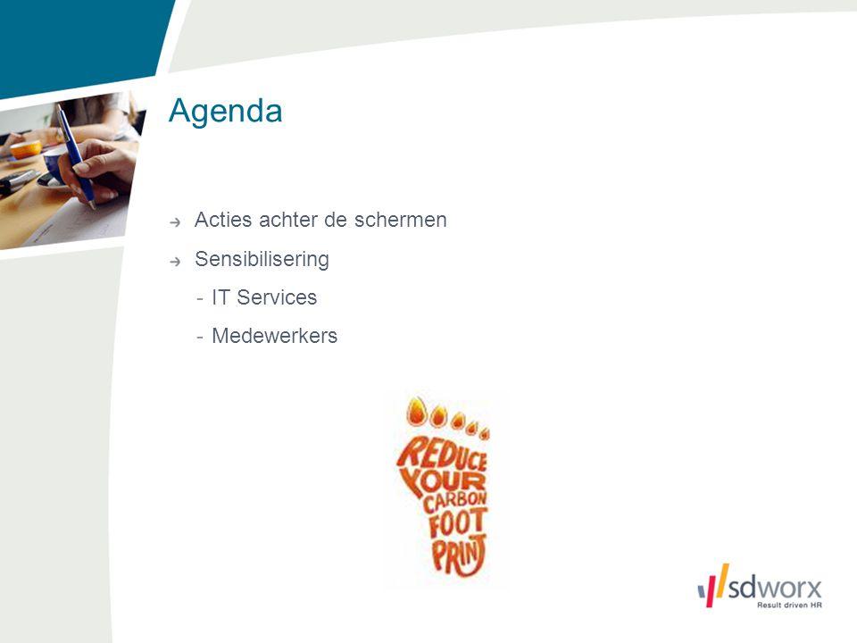 Agenda Acties achter de schermen Sensibilisering -IT Services -Medewerkers