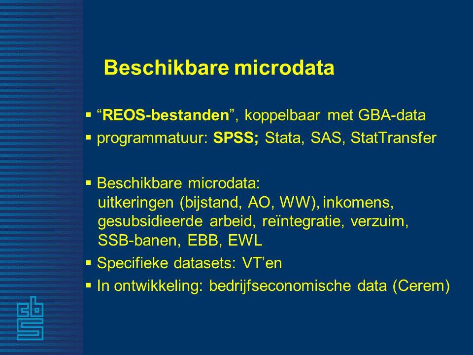 """Beschikbare microdata  """"REOS-bestanden"""", koppelbaar met GBA-data  programmatuur: SPSS; Stata, SAS, StatTransfer  Beschikbare microdata: uitkeringen"""