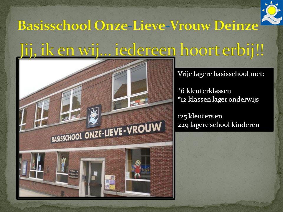 Vrije lagere basisschool met: *6 kleuterklassen *12 klassen lager onderwijs 125 kleuters en 229 lagere school kinderen