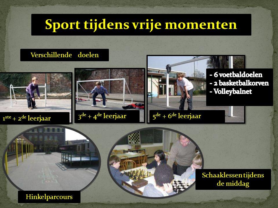 Schaaklessen tijdens de middag Verschillende doelen Hinkelparcours Sport tijdens vrije momenten 1 ste + 2 de leerjaar 3 de + 4 de leerjaar5 de + 6 de leerjaar