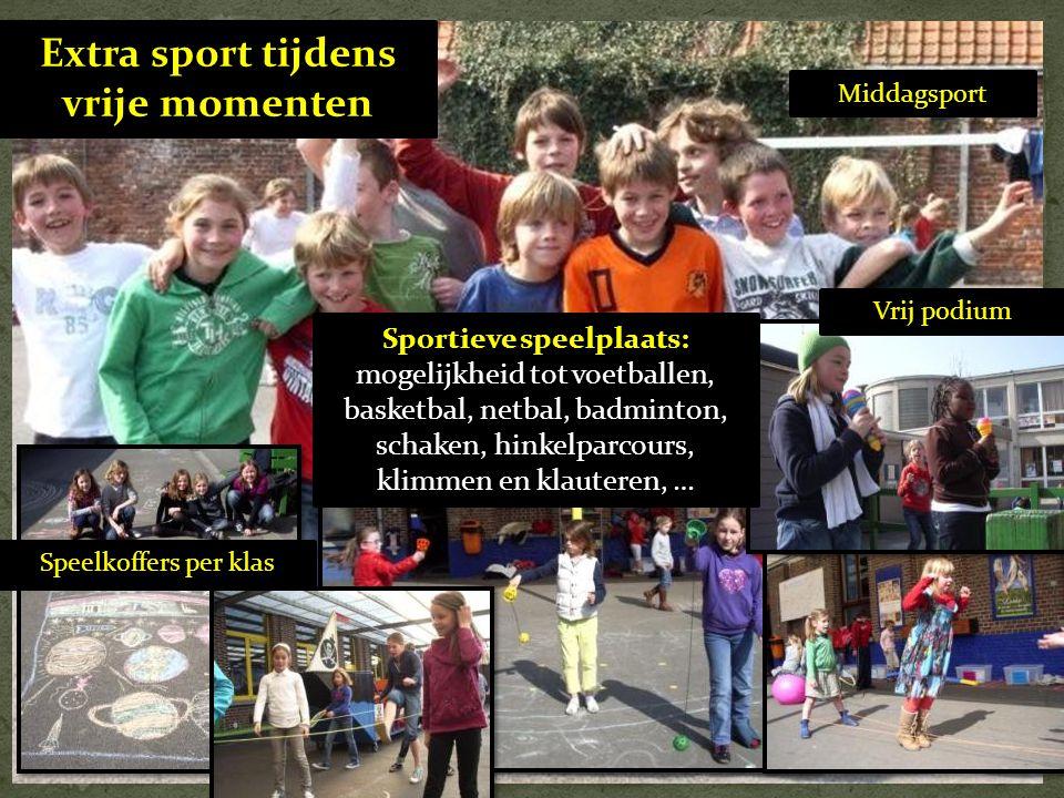 Extra sport tijdens vrije momenten Speelkoffers per klas Vrij podium Middagsport Sportieve speelplaats: mogelijkheid tot voetballen, basketbal, netbal
