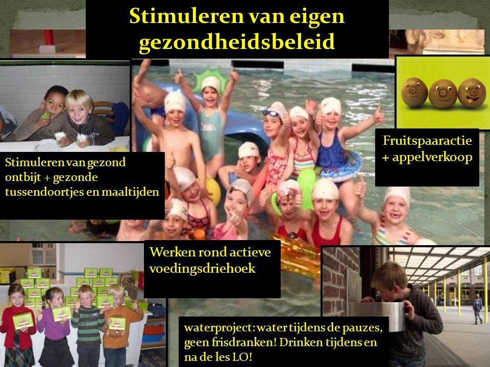 Stimuleren van eigen gezondheidsbeleid Werken rond actieve voedingsdriehoek waterproject: water tijdens de pauzes, geen frisdranken! Drinken tijdens e