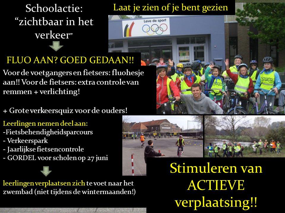 Leerlingen nemen deel aan: -Fietsbehendigheidsparcours - Verkeerspark - Jaarlijkse fietsencontrole - GORDEL voor scholen op 27 juni leerlingen verplaa