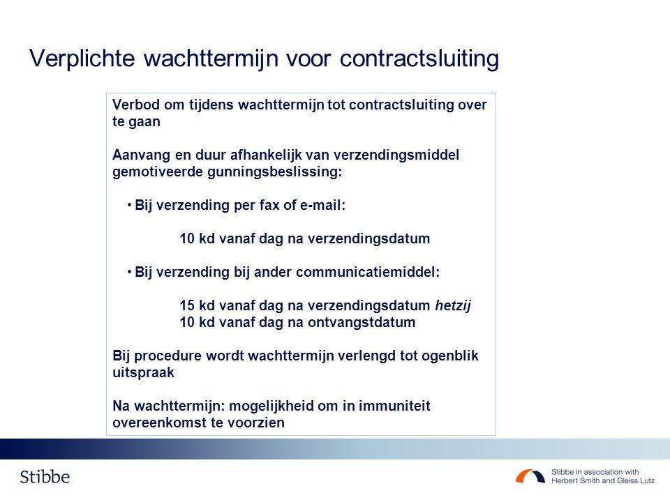 Verplichte wachttermijn voor contractsluiting Verbod om tijdens wachttermijn tot contractsluiting over te gaan Aanvang en duur afhankelijk van verzend