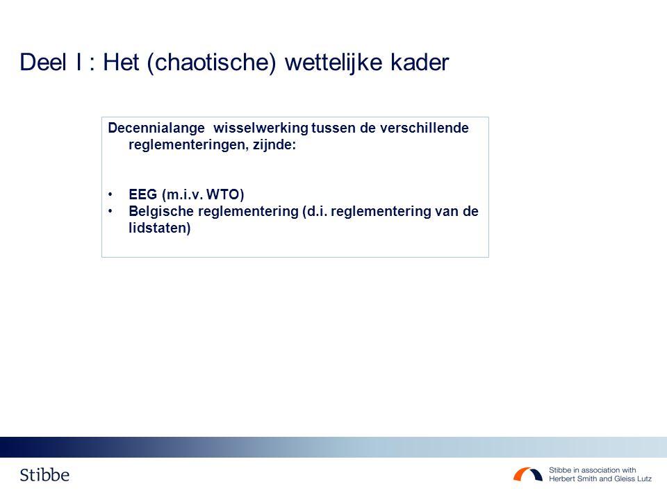 Deel I : Het (chaotische) wettelijke kader EG-niveau - Geen alomvattende regeling – enkel coördinatie / gemeenschappelijk corpus maar: ruimte steeds beperkter (verordening?) - Huidig regelgevend kader : 1] Aanbestedingsrichtlijnen - RL 2004/17/EG : nutssectoren 31/1/2006 - RL 2004/18/EG: klassieke sectoren 31/1/2006 - RL 2009/81/EG : defensie/veiligheid 21/8/2011 2] Rechtsbeschermingsrichtlijnen - RL 86/665/EG (klassieke sectoren) - RL 92/13/EEG (nutssectoren) - RL 2007/66/EG (aanpassingen aan voorgaande richtlijnen) – 20/12/2009 - Directe werking