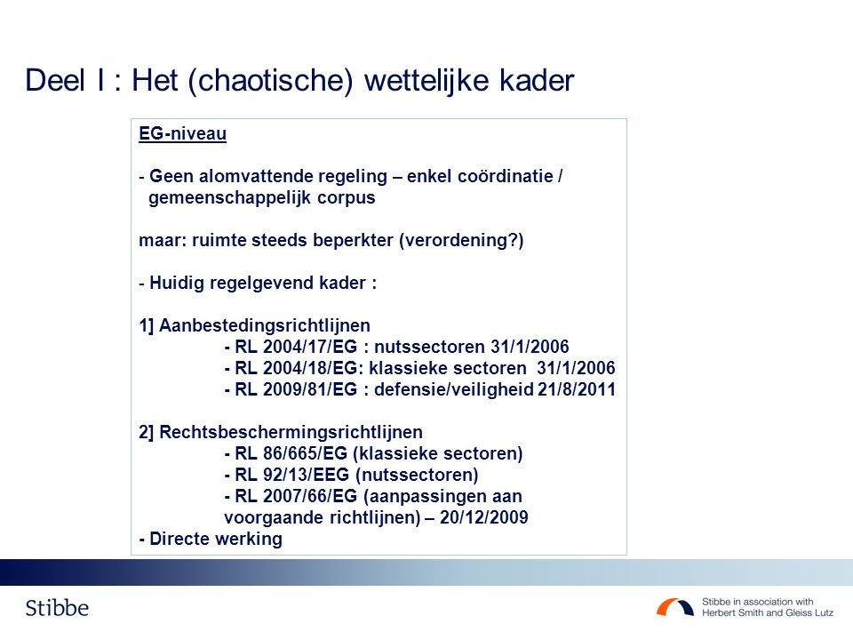 Deel I : Het (chaotische) wettelijke kader EG-niveau - Geen alomvattende regeling – enkel coördinatie / gemeenschappelijk corpus maar: ruimte steeds b