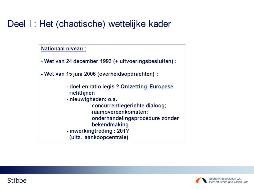 Deel I : Het (chaotische) wettelijke kader Nationaal niveau : - Wet van 24 december 1993 (+ uitvoeringsbesluiten) : - Wet van 15 juni 2006 (overheidso