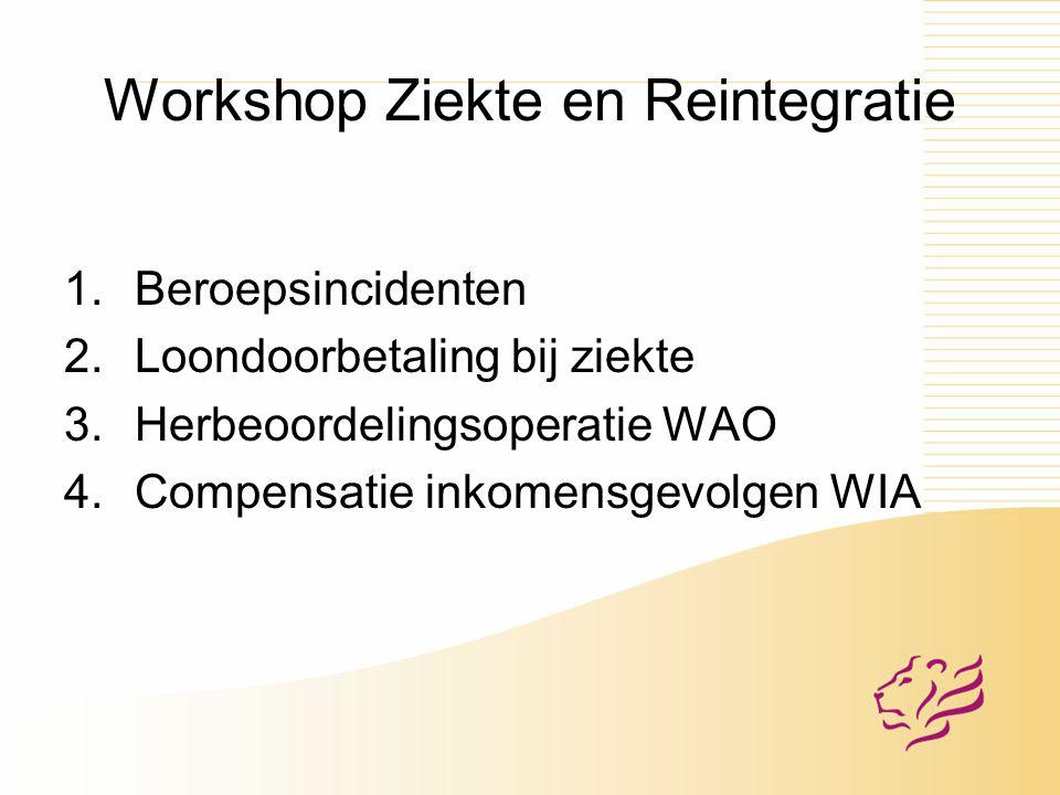 Workshop Ziekte en Reintegratie 1.Beroepsincidenten 2.Loondoorbetaling bij ziekte 3.Herbeoordelingsoperatie WAO 4.Compensatie inkomensgevolgen WIA