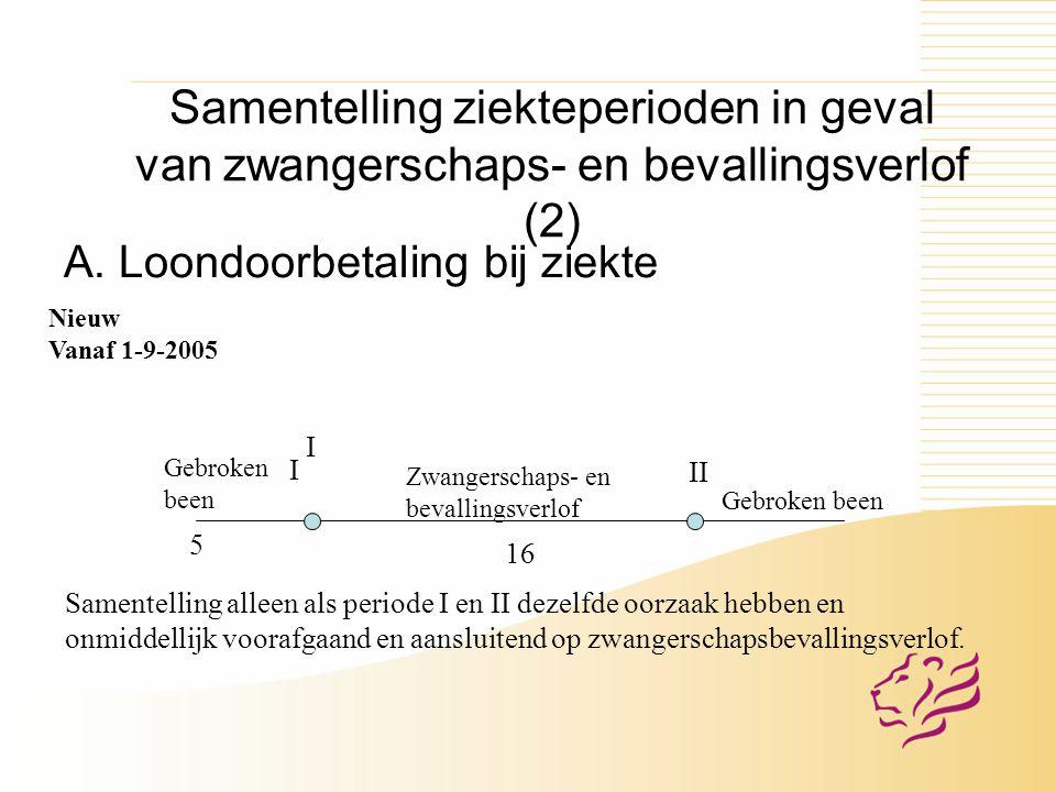 Samentelling ziekteperioden in geval van zwangerschaps- en bevallingsverlof (2) A.