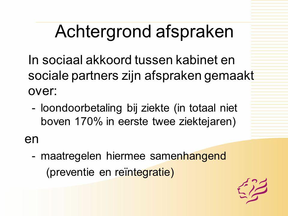 Achtergrond afspraken In sociaal akkoord tussen kabinet en sociale partners zijn afspraken gemaakt over: -loondoorbetaling bij ziekte (in totaal niet boven 170% in eerste twee ziektejaren) en -maatregelen hiermee samenhangend (preventie en reïntegratie)