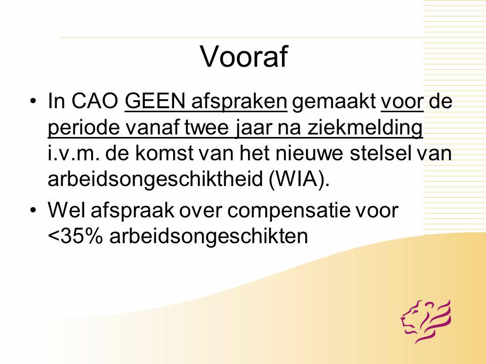 Vooraf In CAO GEEN afspraken gemaakt voor de periode vanaf twee jaar na ziekmelding i.v.m.