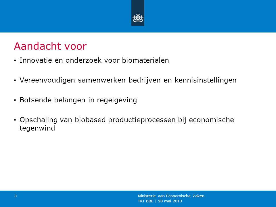 TKI BBE | 28 mei 2013 Ministerie van Economische Zaken 3 Aandacht voor Innovatie en onderzoek voor biomaterialen Vereenvoudigen samenwerken bedrijven en kennisinstellingen Botsende belangen in regelgeving Opschaling van biobased productieprocessen bij economische tegenwind