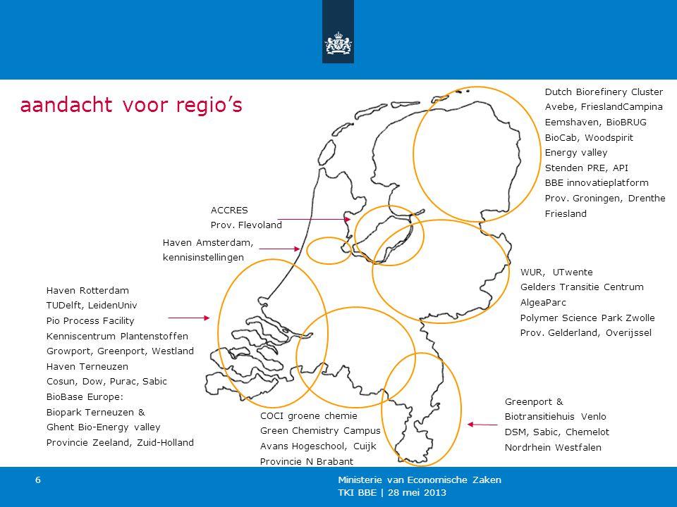 TKI BBE | 28 mei 2013 Ministerie van Economische Zaken 6 Dutch Biorefinery Cluster Avebe, FrieslandCampina Eemshaven, BioBRUG BioCab, Woodspirit Energy valley Stenden PRE, API BBE innovatieplatform Prov.