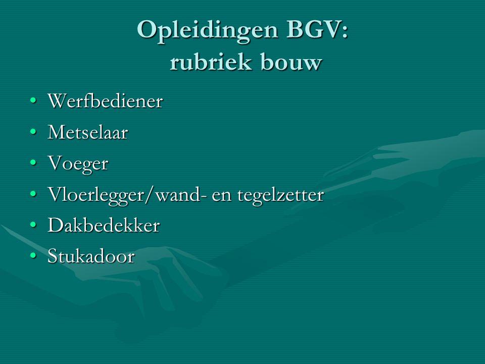 Opleidingen BGV: rubriek bouw WerfbedienerWerfbediener MetselaarMetselaar VoegerVoeger Vloerlegger/wand- en tegelzetterVloerlegger/wand- en tegelzette