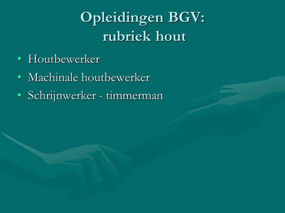 Opleidingen BGV: rubriek hout HoutbewerkerHoutbewerker Machinale houtbewerkerMachinale houtbewerker Schrijnwerker - timmermanSchrijnwerker - timmerman