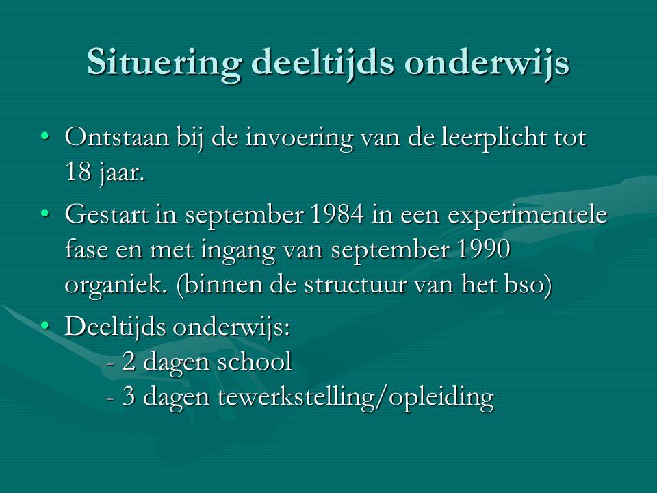 Situering deeltijds onderwijs Ontstaan bij de invoering van de leerplicht tot 18 jaar.Ontstaan bij de invoering van de leerplicht tot 18 jaar. Gestart