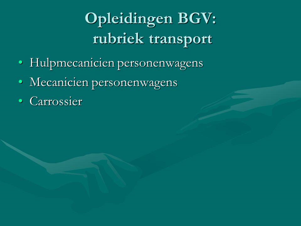 Opleidingen BGV: rubriek transport Hulpmecanicien personenwagensHulpmecanicien personenwagens Mecanicien personenwagensMecanicien personenwagens Carro