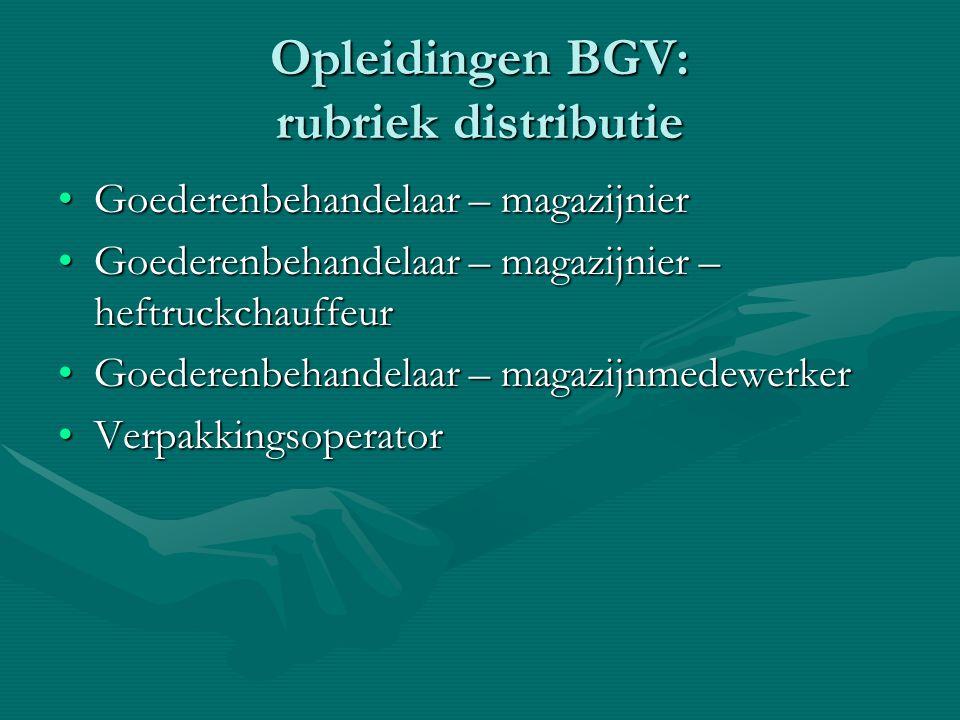 Opleidingen BGV: rubriek distributie Goederenbehandelaar – magazijnierGoederenbehandelaar – magazijnier Goederenbehandelaar – magazijnier – heftruckch