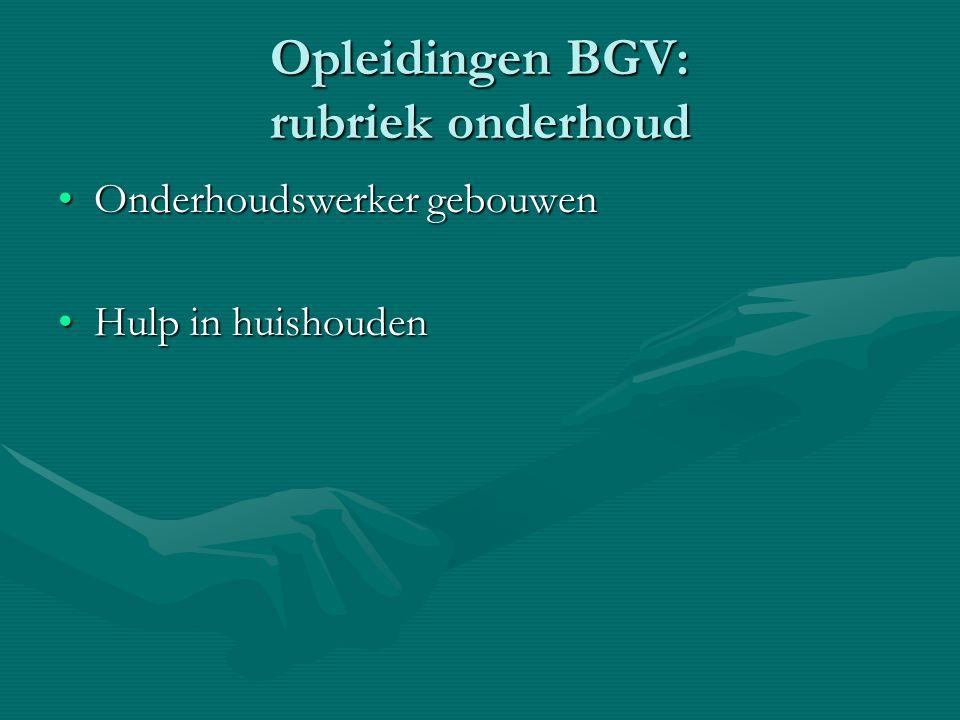 Opleidingen BGV: rubriek onderhoud Onderhoudswerker gebouwenOnderhoudswerker gebouwen Hulp in huishoudenHulp in huishouden